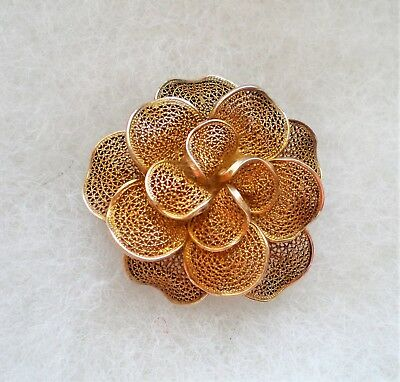 Beautiful Antique Solid Gilded 800 Silver Flower Filigree 3 D Pin Brooch 7.2 g