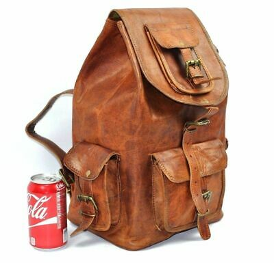 High Quality Leather Back Pack Laptop Rucksack Men's Large Genuine Travel Bag