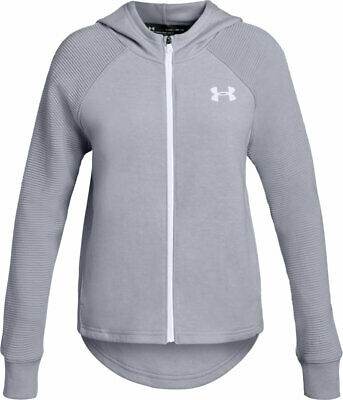 Girls' Under Armour Finale Full Zip Grey Hoodie - SIZE: Girls Large (RRP: 35.99)