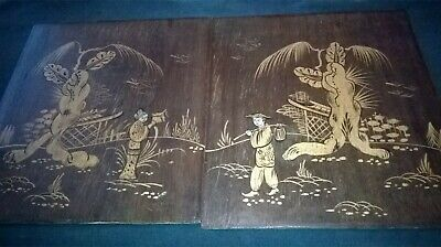 2 x LOVELY, ANTIQUE HAND-PAINTED WOOD PANELS. ORIENTAL/JAPANESE/CHINESE/DESIGN