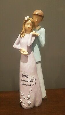 Wedding Gift Willow Effect Resin Figurine And the two shall become one Ephesians
