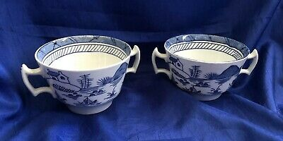 Antique Chinese Export Blue and White Pair of Soup Cups Porcelain