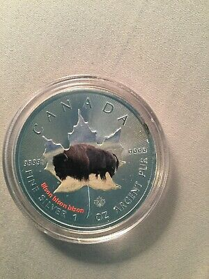 $5 Dollar Maple Leaf Bison Wildlife .9999 fine silver Canada 2014 coloured