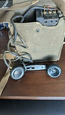 1943 WW2 US Army Military Field Phone Radio Model EE-8-B With Canvas Case