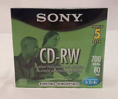 New Sony CD-RW 5 Pack 700Mb 80 Min ReWritable Compact Disk w Jewel Cases