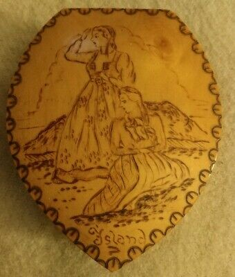 "Norway Folk Art Signed Freidian Pyrography Box Women Sirens ""Island"" Acorn Shape"