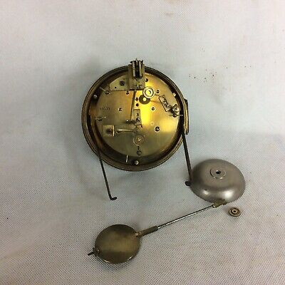 Antique Mougin Mantle Clock Movement. JW Benson Face. Pendulum & Bell