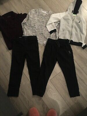Boys Bundle Age 7 Next Black Joggers Skinny Jeans Maroon Grey Soft Tshirt Hoodie