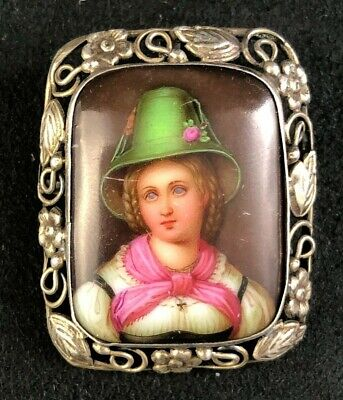 🟢 Porcelain Miniature Portrait Hand Painted Sterling Silver Brooch 1 of 2