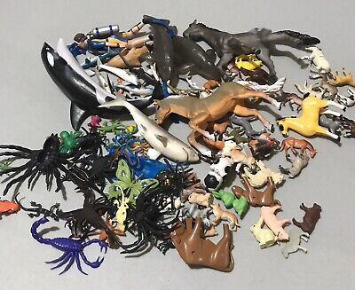 Lot Vintage Plastic Rubber Animal Figures Horses Ocean Insects Safari Dogs ETC.