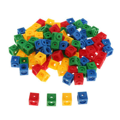 100x Early Educational Interlocking Maths Link Cube Blocks Learning 4 Colors