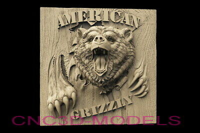 3D Model STL for CNC Router Artcam Aspire Bear Bears Grizzly Pano Animal D609