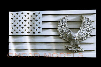 3D STL Model for CNC Router Carving Artcam Aspire USA Flag America Eagle D505