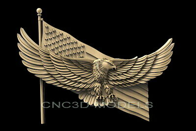 3D STL Model for CNC Router Carving Artcam Aspire USA Flag America Eagle D623