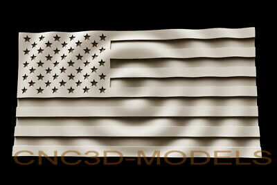 3D Model STL for CNC Router Carving Artcam Aspire USA Flag America D242