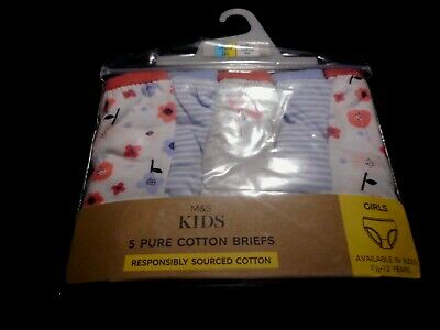 5  X Marks & Spencers Girls/ Pure Cottoni  Briefs Bnwt.  Age 6-7  Rrp £9
