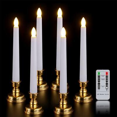 6 PCS LED Window Candles Remote Timer Battery Operated Taper Gold Holders