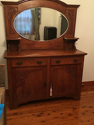Antique Oak Sideboard solid timber (oak?) Two Drawers Two Doors Bevelled Mirror