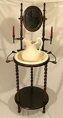 Vintage Antique Style Barley Twist Wash Stand w Mirror Jug and Basin Towel Bar