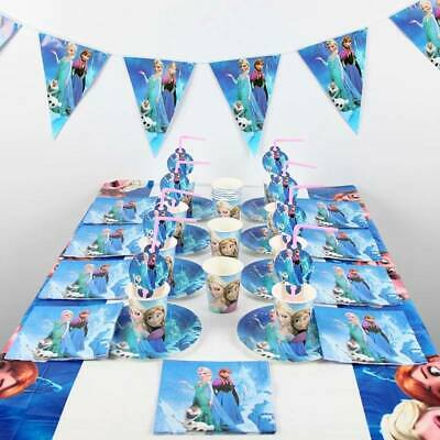 Frozen Party Pack 10 Guests Decorations Elsa Anna Candles Table Cover Birthday
