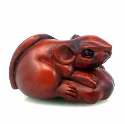 Boxwood Hand Carved Japanese Netsuke Sculpture Cute Mouse On Pumpkin #10231901