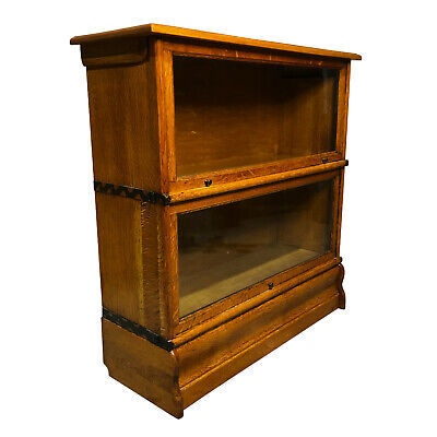 Antique Arts & Crafts Mission Quartersawn Oak 2 Stack Barrister Bookcase