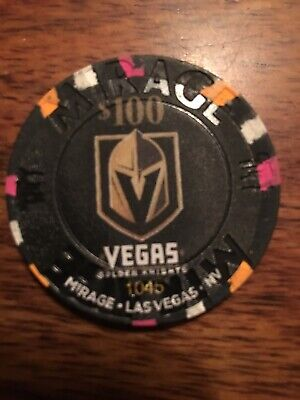 $100 Chip From The Mirage In Las Vegas Featuring The Vegas Golden Knights