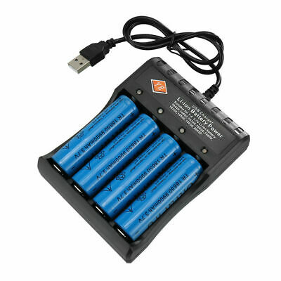 4pc 18650 Batteries 9900mAh 3.7V Li-ion Rechargeable Battery + 1X 4 Slot Charger
