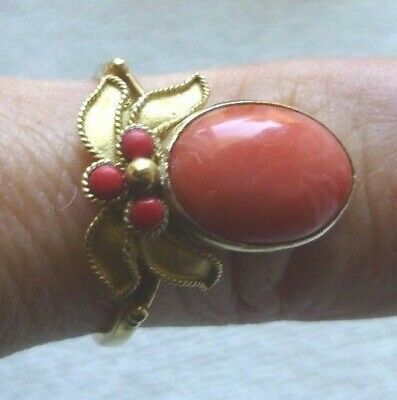 Antique Chinese Export Coral Flower Gilt Sterling Silver Ring