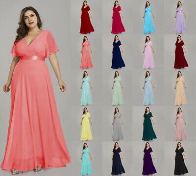 Formal New Long Chiffon Bridesmaid Evening  Ball Gown Party Prom Dress Size 6-26