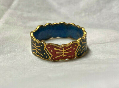 Estate Chinese Art Hand Crafted Black Red Gold Tone Butterfly Cloisonne Ring 7.5