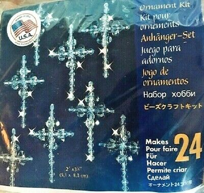 "Holiday Beaded Ornament Kit CRYSTAL CROSSES Christmas Ornaments 2"" Makes 24"