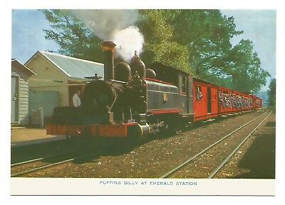 VIC - c1970s POSTCARD - PUFFING BILLY AT EMERALD STATION, VICTORIA