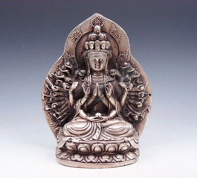 Vintage Tibetan Silver Plated Copper Crafted Thousand Arms Kwan-Yin Buddha