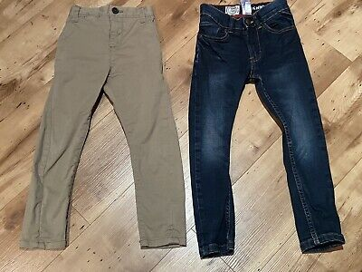 Next Boys Beige Slim Fit Cotton Trousers & Blue Jeans 4 Years