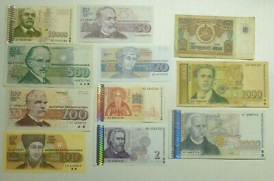 Bulgaria 11 Different Old Banknotes (1990's) 1-10000 Leva Used to Mint