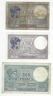 France 3 Different Early French Banknotes 5 Francs 1918, 1922 and 10 Francs 1922