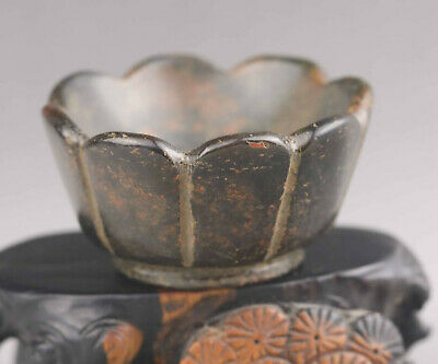Chinese old natural jade hand-carved flower tea cup