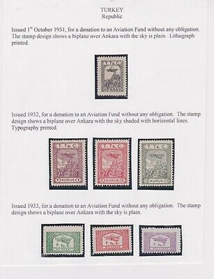 Turkey-1931/32/33 Mounted mint stamps issued for a donation to an Aviation Fund