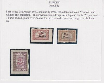 Turkey-1930/1 Mounted mint stamps overprinted for donation to an Aviation Fund