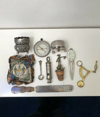 Interesting Antique Group of Curios Including Silver and Novelties.