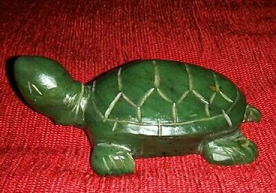 Antique Chinese Hand Carved Spinach Green Nephrite Jade Turtle Figurine Statue