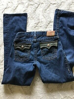 True Religion Boys Billy Blue Jeans Size 14 Green Leather Pocket Flaps