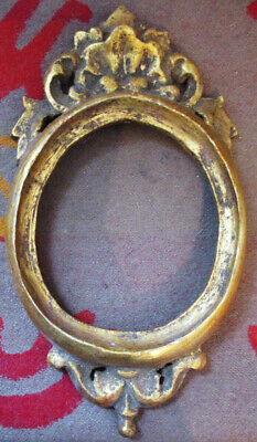 Vintage Gold Painted Wooden Oval Frame Hand Carved? Made In Spain
