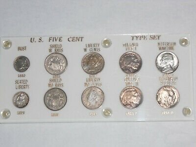 Us Nickel 1/2 Dime 10 Coin Type Set All Au & Bu Uncirculated Unc