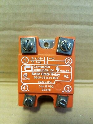 3-32VDC Out Lot of 2 Continental S505-0SJ610-000 Relay Control 24-330VAC 10A