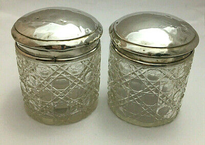 Pair Sterling Silver Glass Dressing Table Jars 1933
