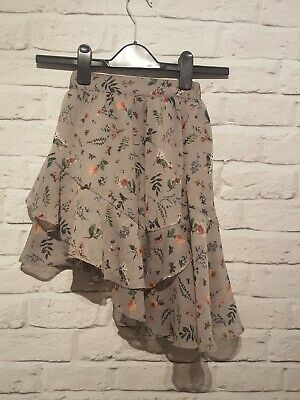 NEXT Girls 5 Years floral Assymetric Skirt ruffled Grey Purple Occassion Party
