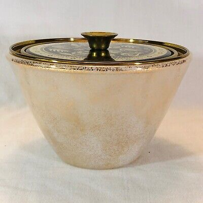 """Georges Briard Glass Ice Bucket Mid Century Modern Gold 7-5/8"""" wide 5"""" tall"""