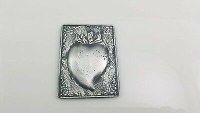 "Sacred Heart Milagro Plaque  3"" x 2.25"" Made of Tin Silver Alloy"